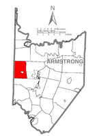 Map of Armstrong County, Pennsylvania highlighting West Franklin Township