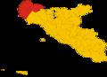 Map of unione dei comuni terre sicane (province of Agrigento, region Sicily, Italy).png
