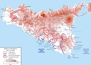 Topographical map of Sicily, with details of landing areas and Axis positions
