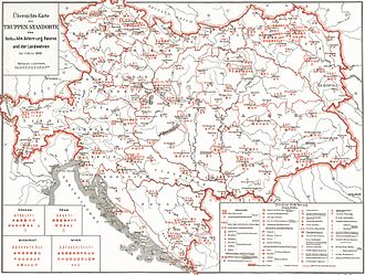Military of Austria-Hungary - The 16 Military Districts of Austria-Hungary in 1898 (in German)