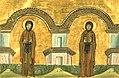 Marana and Kyra, nuns of Syria (Menologion of Basil II).jpg