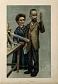 Marie and Pierre Curie, he holding aloft a glowing specimen Wellcome V0001397.jpg