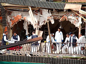 2011 Marrakesh bombing - Police investigating on the site a few hours after the explosion