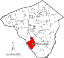Map of Lancaster County, Pennsylvania highlighting Martic Township