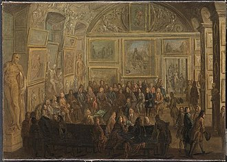 Académie royale de peinture et de sculpture - A meeting of the Académie Royale de Peinture et de Sculpture at the Louvre (c. 1712–1721) by Jean-Baptiste Martin