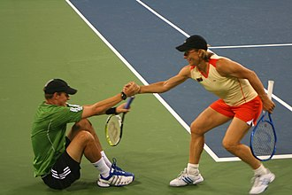 Bob Bryan - Martina Navratilova gives Bob Bryan a hand. The pair won the 2006 Mixed Doubles title at the US Open.
