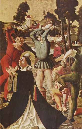 Stoning - Saint Stephen, first martyr of Christianity, painted in 1506 by Marx Reichlich (1460–1520) (Pinakothek of Munich)