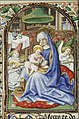 Mary sitting on the ground, reads to the Christ-child - Book of Hours of Simon de Varie - KB 74 G37 - 012r min.jpg