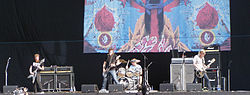 Mastodon playing live at Heineken Jammin' Festival 2007 Left to right: Brent Hinds, Troy Sanders, Brann Dailor, Bill Kelliher