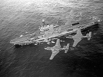 HMCS Bonaventure - Banshees overflying Bonaventure in the late 1950s