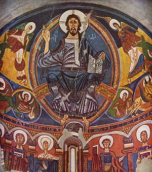Fresco of Christ Pantocrator from Sant Climent de Taüll, acknowledged as one of the masterpieces of Romanesque art.