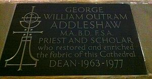 George Addleshaw - Memorial in Chester Cathedral