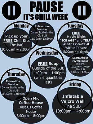 Acadia Students' Union - The poster design for Chill Week 2014, hosted by the Mental Health Society.