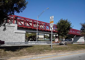 Florida State Road 878 - The MetroPath footbridge marks the entrance to SR 878 at its eastern terminus at US 1, near South Miami.