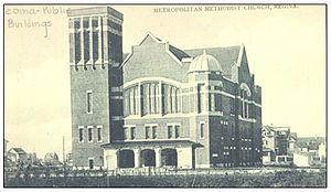 Knox-Metropolitan United Church (Regina, Saskatchewan) - Like Knox Presbyterian, one block north and also on Victoria Park, destroyed by the Regina Cyclone of 1912 and immediately rebuilt.