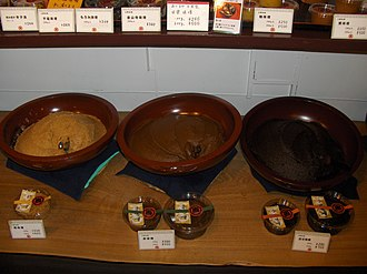 Miso - (from left) Kōjimiso, Akamiso, Awasemiso
