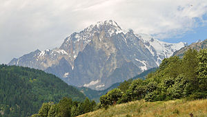Mont Blanc as seen from Aosta Valley in 2009 July.