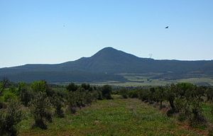 Catalan Central Depression - The Montmeneu, an isolated hill in the western area of the Central Depression.