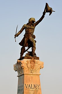 A statue of General Kellermann calling to his troops