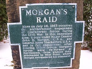 Battle of Salineville - Image: Morgan's Raid marker in Carroll County, Ohio