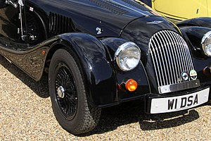 English: Close up of black on black Morgan 4/4...