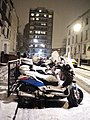 Motorcycles in the snow, Belmont Street NW1 - geograph.org.uk - 1631046.jpg