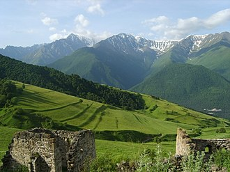 Nakh peoples - Ruins of ancient Vainakh settlement, and agricultural terraces behind.