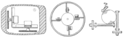 Early mouse patents. From left to right: Opposing track wheels by Engelbart, Nov. 1970, U.S. Patent 3,541,541 . Ball and wheel by Rider, Sept. 1974, U.S. Patent 3,835,464 . Ball and two rollers with spring by Opocensky, Oct. 1976, U.S. Patent 3,987,685 .