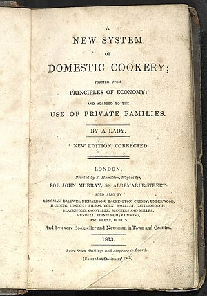A New System of Domestic Cookery - Title page of 1813 edition
