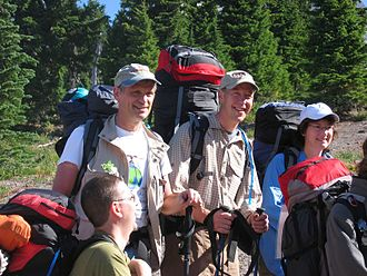 Greg Walden - Oregon Congressmen Earl Blumenauer (left) and Walden, hiking on Mount Hood during a 2005 fact-finding trip.
