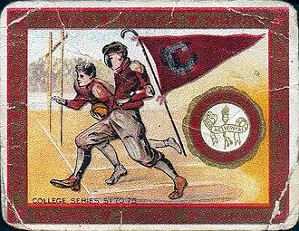 Colgate Raiders football - Colgate football team on a cigarette card by Turkish tobacco company, Murad (1910)