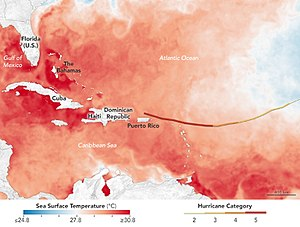 Hurricane Irma - Sea surface temperatures in Hurricane Irma's path.