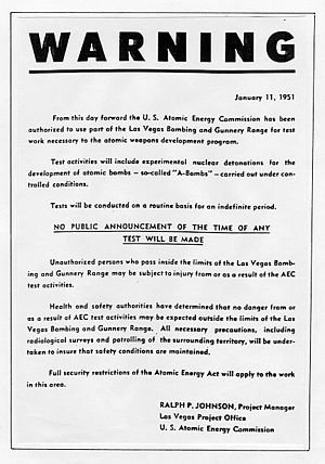 Nevada Test Site - This handbill was distributed 16 days before the first nuclear device was detonated at the Nevada Test Site.