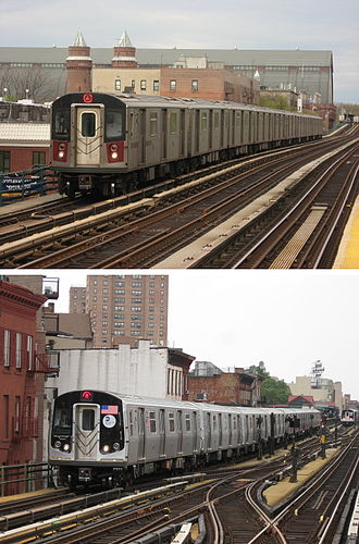 New Technology Train - Image: NYC Subway R142 on the 4 R160A on the M