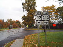 Two two-lane highways intersect in a residential area. A sign assembly to the right indicates that NY 22 northbound continues straight while NY 313 eastbound is accessed by turning right.