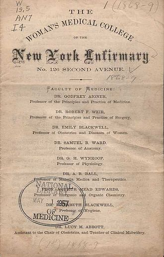 Lower Manhattan Hospital - 1868 announcement of The Woman's Medical College of the New York Infirmary.