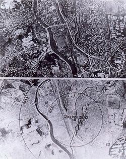 Letecká snímka Nagasaki pred výbuchom a po výbuchu atómovej bomby.