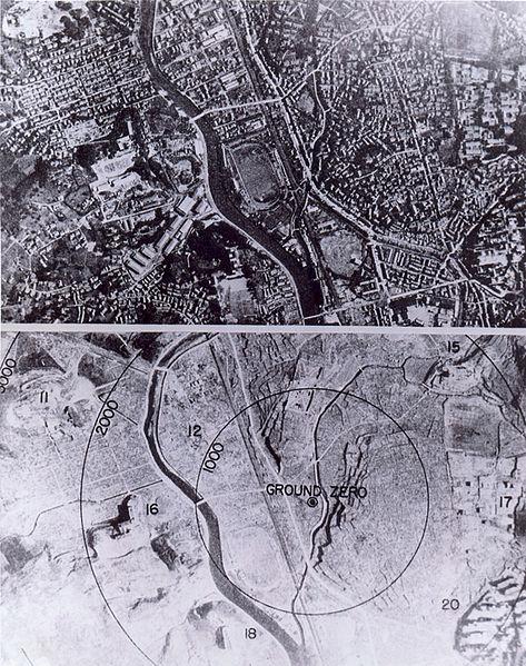 La ciudad de Nagasaki (Japón), antes y después de la bomba atómica.
