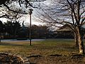 Nagoya Noh Theater and sculpture of Kato Kiyomasa in Meijo Park.JPG
