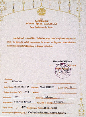 Directorate of Religious Affairs - Image: Nahit Serbes Diyanet İşleri Başkanlığı Cami Açılış Belgesi