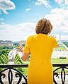 Nancy Pelosi in 2019, from- Pelosi and Canadian PM Trudeau viewing the National Mall (cropped).jpg
