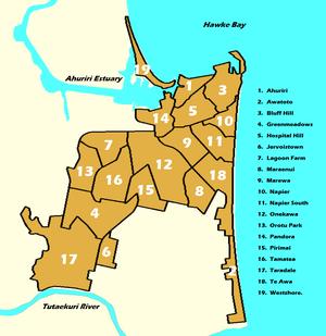 Napier, New Zealand numbered suburbs map