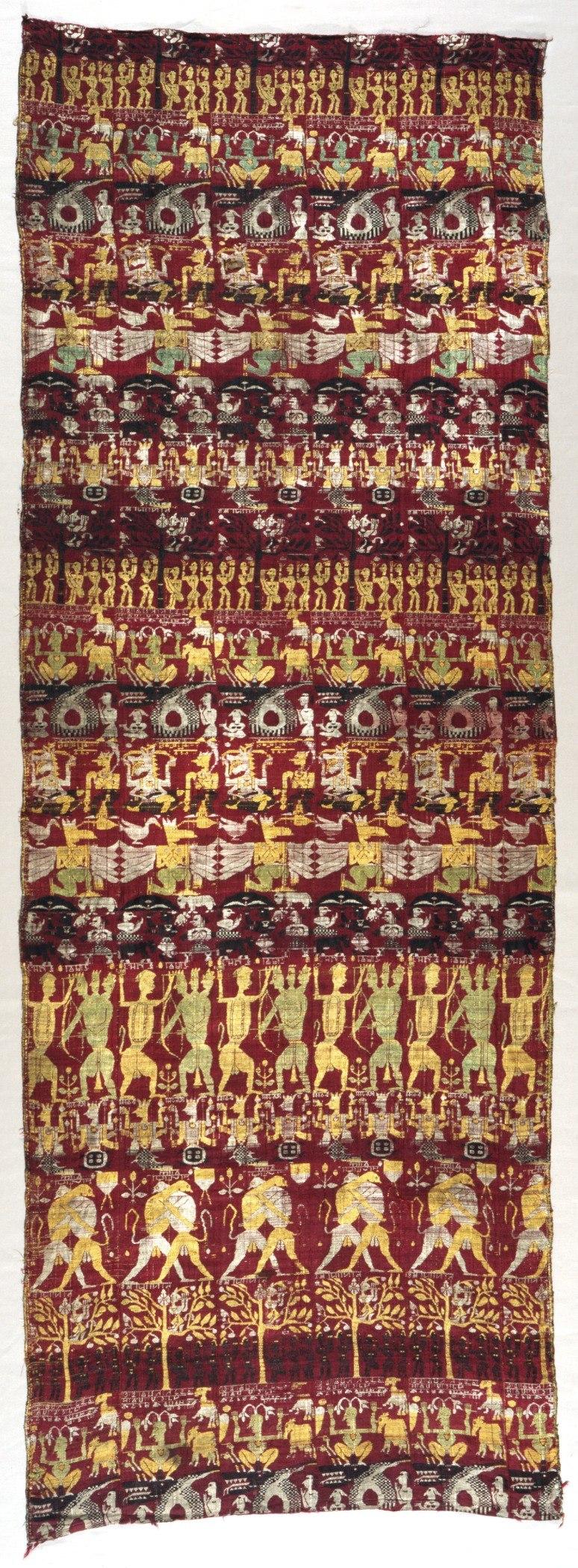 Narrative Curtain Depicting Avatars of Vishnu (Vrindavani vastra) LACMA AC1995.94.1