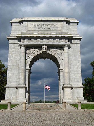 Memorial gates and arches - National Memorial Arch, a Revolutionary War memorial in Valley Forge National Historical Park, Chester County, Pennsylvania.