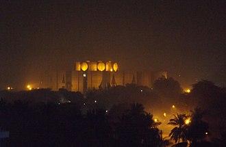 Jatiya Sangsad Bhaban - National assembly of Bangladesh night view from west.