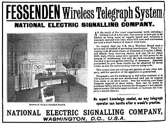 Reginald Fessenden - 1905 company advertisement