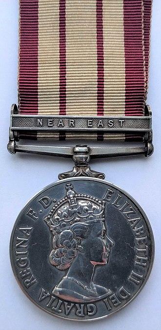 Naval General Service Medal (1915) - Image: Naval General Service Medal 1915 (Obverse) Clasp 'Near East'