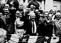 Nelson Rockefeller, Dubinsky's granddaughter Ryna Appleton, David Dubinsky, Robert Wagner, and George Meany wave to the public at a Labor Day parade. (5278801035).jpg