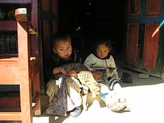 Nepalese children with cats