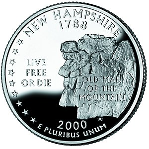Franconia, New Hampshire - Old Man of the Mountain on the New Hampshire quarter